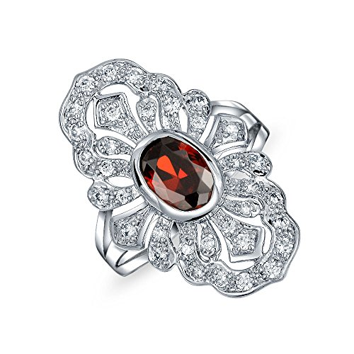 Bling Jewelry Boho Antike Filigrane Rot Simulierten Ruby Cz Mode Voller Finger Armor Aussage Ring Für Damen Messing