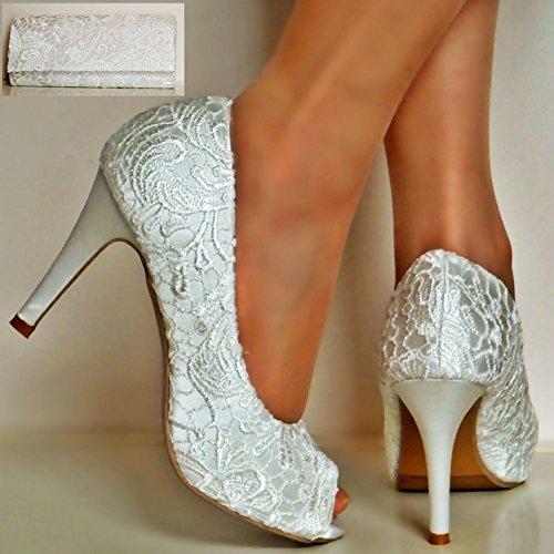 XINJING-S Meine Damen Elfenbein Satin Floral Lace High Heel Peep Toe Pumps Größe Partei, Hochzeitssuite Elfenbein