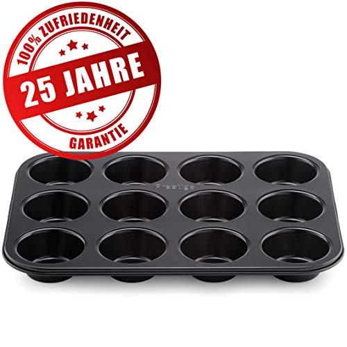 Prestige Mini Muffin Backform für 12 Muffins – Backblech mit spezielle Antihaftbeschichtung & Schneller und Optimaler Hitzeverteilung Backergebnisse