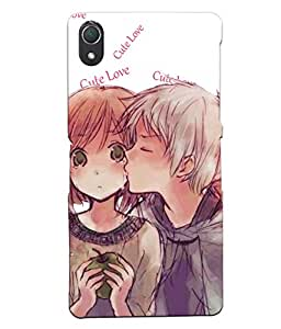 Fuson Pattern Love Couple Back Case Cover for SONY XPERIA Z2 - D3712