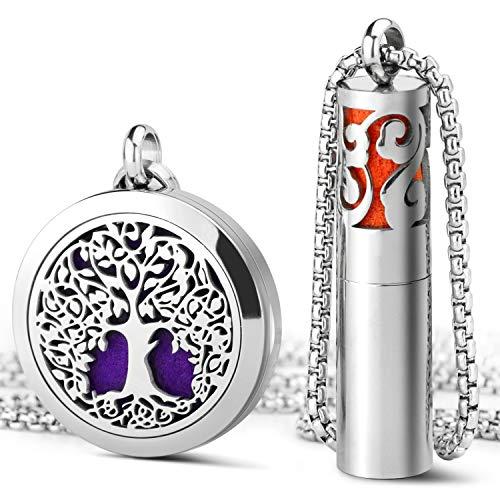 SALKING Halskette für Frauen mit Lebensbaum Anhänger, Silber Duftstofflocket Lebensbaum Kette für Aromatherapie Duft Aromaöl mit 8 farbigen-Filzkreisen Geschenk für Sie