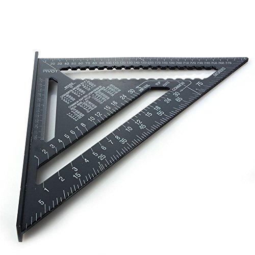 12 Zoll Aluminiumlegierung Dreieck Herrscher, 4EVERHOPE Dreieck Form Quadrat Herrscher 90 Grad Messwerkzeug für Ingenieur Zimmermann