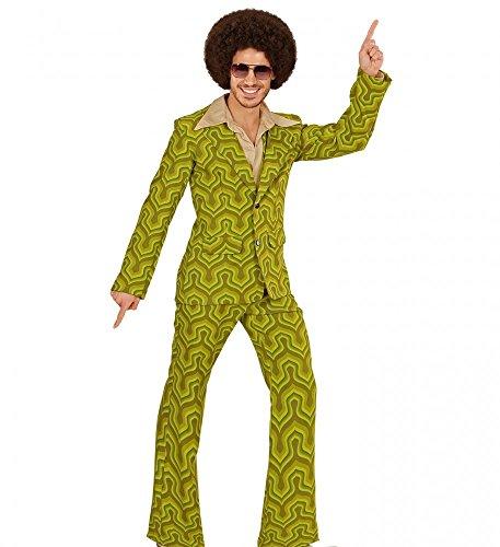 Retro Kostüme (70er Jahre Retro Herren ANZUG Tapetenmuster Grün Disco Kostüm Jackett Hose Siebziger Schlager,)