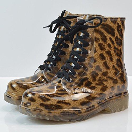 LvRao Damen Wasserdichte Schnürschuhe Kurz Boots Schnee Regen Booties Casual Garten Stiefel Gummistiefel Leopard