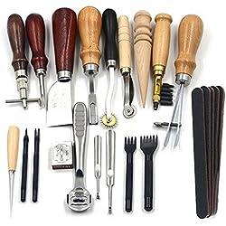 18 piezas Juego de cuero hilo costura, agujas herramientas para coser de manualidades DIY