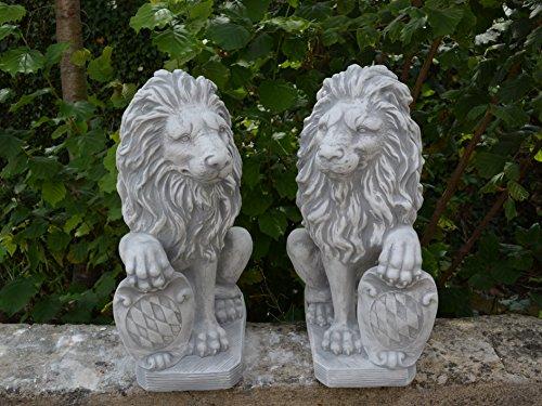 Offre spéciale : Superbe Lion Paire de porte avec armoiries Wächter en en pierre, au gel