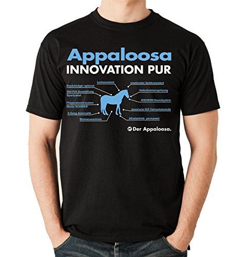 Siviwonder Unisex T-Shirt INNOVATION - APPALOOSA - Pferde Fun reiten Schwarz