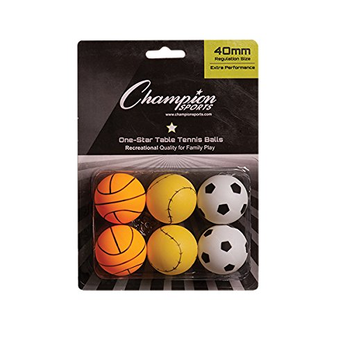 Champion Sports 1Stern Tischtennisbälle, 1 Star Table Tennis Balls, Sports Pack of 6, Sports Pack