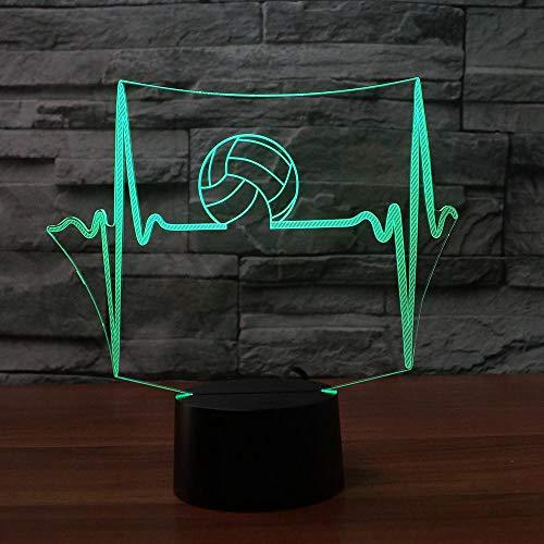 Nachtlicht 7 Farbwechsel Usb Touch Schalter 3D Led Ekg Nacht Volleyball Tischlampe Büro Set Hause Schlaf Licht Geschenk