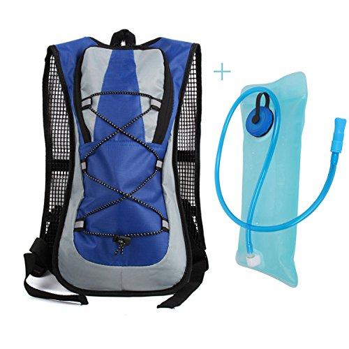 Trink Radfahren Rucksack-Pack mit einem 2 l Wasser-Beutel, Gutaussehend Design und haltbaren Stoff Material, iParaAiluRy Blau