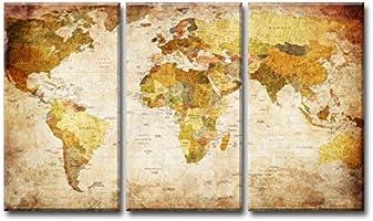 160 x 90 cm Bild & Kunstdruck der deutschen Marke Visario ArtNr 1169 Bilder auf Leinwand Kunstdrucke Weltkarte Wandbild drei Teile