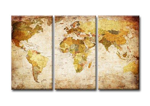 Visario Mappa del Mondo Quadro su Tela Tre Parti, murali Stampa D' Arte, Cornice in Legno e Metallo per Essere Appeso, Beige Vintage, 120 x 80 x 1.0 cm