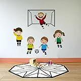 Rawpockets Kids Play Football' Wall Sticker (Paper Print, 100 cm x 80cm), Multicolor