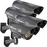 Oxid7® Dummy Kamera 4 Stück CCD Fake Überwachungskamera Set mit