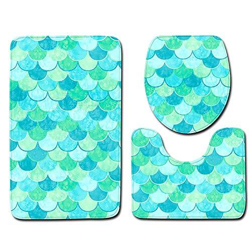 Caoqao tappeto antiscivolo scala bagno bagno tappetino tappeto tappetino tre pezzi/pad:45x75cm u pad:45x40cm toilet cover:37x42cm / bagno tappetino casa tappetino decorativo