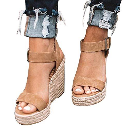 Vertvie Damen Sandalen Keilansatz Knöchel Schnalle Offene Zehe Sommersandaletten High Heels Sommer Gr. 35-43(38 EU,Brown) - Sandalen Wedges Schuhe Frauen
