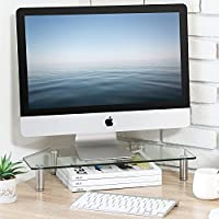 FITUEYES Monitor Stand Curved Glass Computer Riser Desk with Adjustable Leg for PC/Laptop/LCD LED TVs DT105002GC