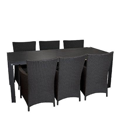 7tlg Gartengarnitur Sitzgruppe Sitzgarnitur Polywood Aluminium Gartentisch Esszimmertisch 205x90cm Polyrattan Alu Sessel Rattansessel Gartensessel