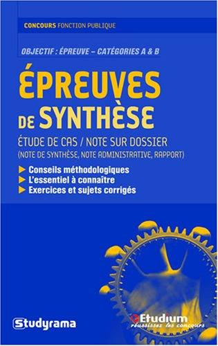 Epreuves de synthèse : Note sur dossier...