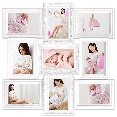 Bilderrahmen Collage Fotorahmen Wandgalerie Fotocollage für 9 Fotos 10x15 cm - Farbe Weiß