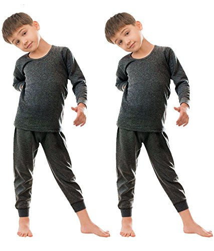 Body Care Thermal Top & Pyjama Set for Baby Boys & Baby Girls (3-6 Months, grey)