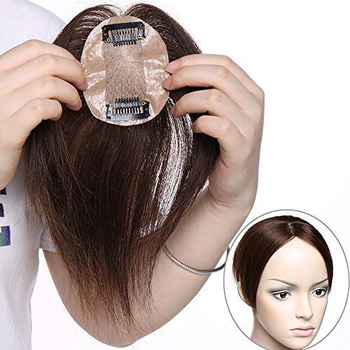 Extension Hair Topper Capelli Veri Clip in Hair Top Piece 100% Remy Indian Human Hair Lisci per Donne 15g 110% Density Silk Base 6cm x 9cm [#4 Marrone Medio]