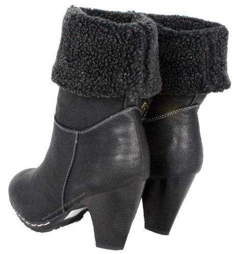 FLB681 FLB610 Bottes à chaud pour femmes Noir imitation fourrure Bottines Noir - noir