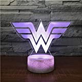 Acrilico Wonder Woman 3D Led Rgb Night Light 7 Colori Change Desk Light Action Ragazzi Ragazze