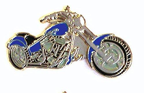Anstecknadel / Brosche / Pin / Emblem mit Motorrad / Chopper-Motiv, aus Metall und Emaille, Farbe: blau