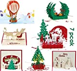 PILIN Biglietti d'auguri 3D - Biglietti d'auguri fatti a mano Merry 3D per decorazioni natalizie e auguri natalizi - 7 biglietti e buste (7 pezzi)