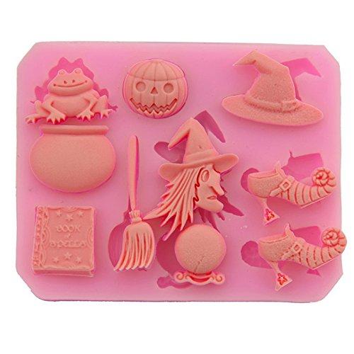 Cupcinu Hexe Besen mit Kürbis Halloween-Backform, Antihaftbeschichtung, Muffin, Kuchen, Süßigkeiten, Gelee, Schokolade, zum Backen