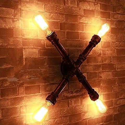 FWEF Arte de Cafe industrial Lron X-Shaped pipa de agua de pared lámpara creativo Retro pipa de agua modelos pared ropa Bar luces decorativas pared lámpara 33 cm * 33 cm