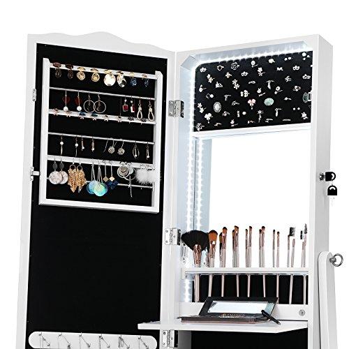 SONGMICS Schmuckschrank mit LED Beleuchtung, Abschließbarer Spiegelschrank, mit Innenspiegel und klappbarer Innenablage für Make-up, Weiß JBC87WT - 5