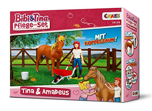 Craze Pflege Bibi BIBI & Tina Spielfiguren Set Pferde Pflegeset Tina und Amadeus inkl. Zubehör, Tina & Amadeus 14134