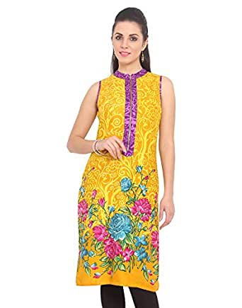DeDe'S YELLOW KURTI COLOR BIG FLOWER ZIPPER STYLE