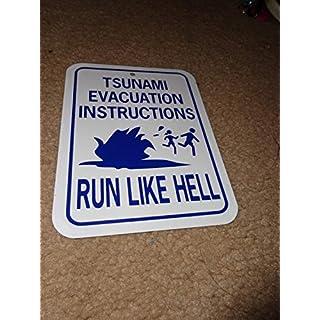 43LenaJon Tsunami Evakuation Instructions Run Like Hell Lustiges Schild 30,5 x 45,7 cm Aluminium Metallschild