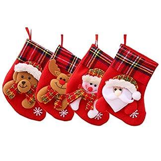 Decoraciones navideñas Suministros Fiestas 4piezas Calcetines navideños Decoración Lentejuelas pequeñas Hombre Viejo Muñeco Nieve Elk Bear Decoraciones hogar Diseño Escena Divertida Ventana