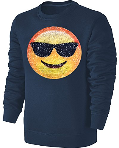 Kinder Wende Pailletten Sweatshirt Emoji Herzaugen Streichel Pullover Blau Größe 164
