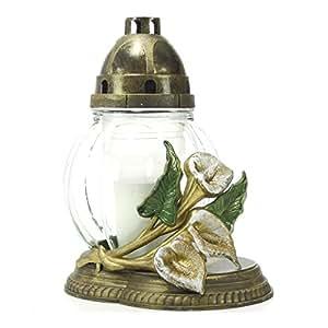 Plomyk S-146 Grablampe aus Glas mit Calla-Ornament Höhe 30cm