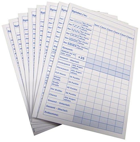 5x Block für Würfelspiel - 50 Blatt, Druck in Blau DIN A5, 50 Blatt, Qualitäts-Offset-Papier 80g/m² (22671)