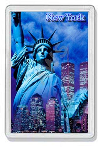 AWS Magnet PVC Hartschale New York Souvenir Magnet Statue der Freiheit Fridge Magnet Magnet Foto-Kühlbox Zwillingstürme Statue of Liberty Twin Towers 7,8_x _5,2_cm
