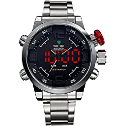 Alienwork DualTime LED Analogue-Digital Watch XXL Oversized Wristwatch Multi-function Stainless Steel black silver OS.WH-2309-1