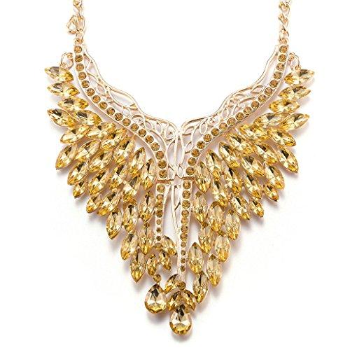 BeyDoDo Modeschmuck Böhmischen Statement Kette Damen Halsketten Gelb BirnenschnittGlas Kristall Halsband 31+7CM Lätzchen Halskette (Jährige Elefanten Kostüm 8 Für)