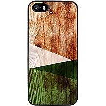 Funda carcasa para Apple iPhone 5 5S diseño efecto madera color verde borde negro