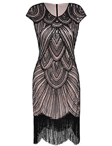 PrettyGuide Damen 1920er Gastby Diamant Pailletten verschönert mit Fransen Flapper Kleid, Schwarz Beige, ()