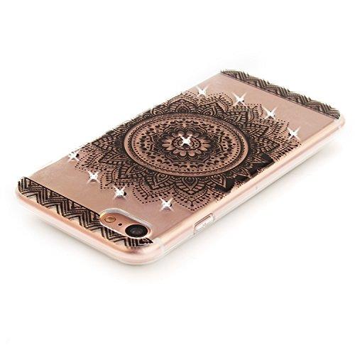 Case iPhone 7 , Coque iPhone 7 , Anfire Étui Souple Flexible en Premium TPU Apple iPhone 7 (4.7 pouces) Motif Fleur de Paon Ultra Mince Gel Silicone Cas Bling Bling Strass Clair Transparent Housse de  Blanc