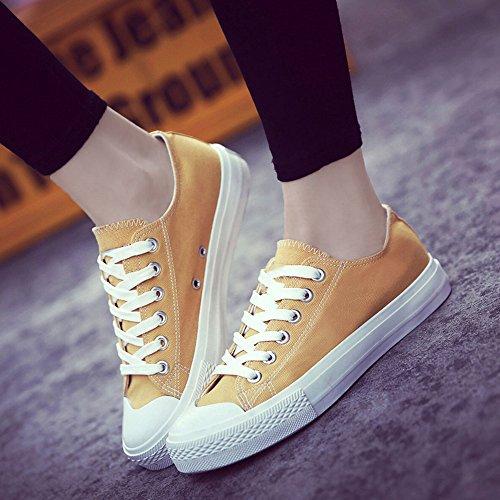 Canvas Basse Tela Scarpe per Donne Piatto Casuale Sportive Sneakers 8 Colori Nero Bianca Giallo Rosso 35-40 giallo(scegliere 1-2 dimensioni in su)