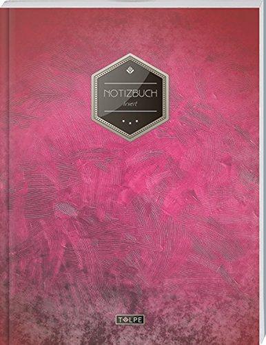"""TULPE Liniertes Notizbuch A4 """"C006 Blutrot"""" (140+ Seiten, Vintage Softcover, Doppelrand, Seitenzahlen, Register - Dickes Notizheft, Deutschheft, Schreibheft, Schulheft, Tagebuch, Lineatur 27)"""