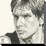 1art1 78828 Star Wars - Han Solo Portrait Zeichnung Poster Leinwandbild Auf Keilrahmen 30 x 30 cm