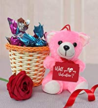 TIED RIBBONS Valentines Surprise Gifts for Girlfriend, Boyfriend, Husband, Wife, Him, Her(Soft Teddy, Handmade Dark Chocolates, Red Rose(Artificial), Greeting Card and Rattan Bucket)